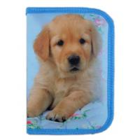 Quality Blue Zippered Pencil Case Box One Zipper Bag Dog Printed For School for sale