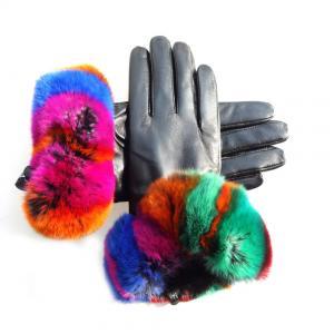 Beautiful Design Colored Leather Gloves , Rabbit Fur Gloves Black Color