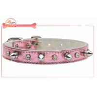 Quality Fancy Metallic PU Pet Collar And Leash For Walking With Crystal Charm And Spike Hardware wholesale