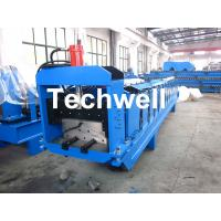 Quality Metal Top Ridge Tile Roll Forming Machine With 15 Forming Stations , PLC Control System wholesale