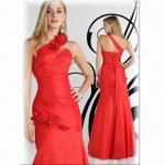 Quality Red Taffeta Sheath One-shoulder Prom Dress wholesale