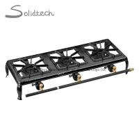 China Portable Outdoor 3 Burners Double Cast Iron Propane Camping Gas Stove on sale