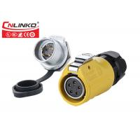 China Plastic 5 Pin Power Outdoor Waterproof Connectors ,  Yellow  Circular Waterproof Din Connector on sale