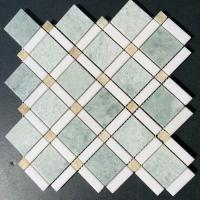 Quality Shiny Ming Green Marble Stone Mosaic Tile With Thassos Polished Onyx Dot wholesale
