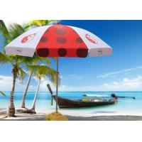 Quality Luxury Red And White Outdoor Cafe Umbrellas With 500D Oxford Fabric , Heat Transfer Printing wholesale
