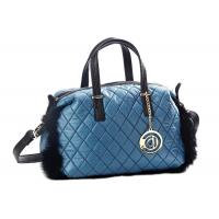 China Blue Genuine Fur Trimmed Quilted Nylon Tote Bag with PU Leather Handles on sale