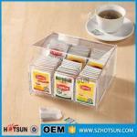 Quality First class decor custom design tabletop clear acrylic tea box wholesale