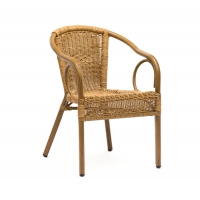 Quality 104cm Height 50cm Depth Rattan Garden Dining Chairs For Restaurant wholesale