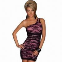China Elegant Mini Dress in One-shoulder Style (G11338), Purple, Made of Polyester/Elastane on sale