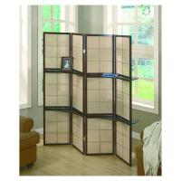 Quality 4 Panels Wooden Frame Bamboo Folding Movable Screens Room Divider wholesale