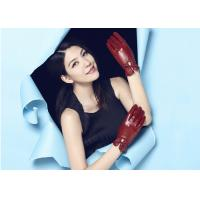 Quality Popular  Women Red Genuine Leather Gloves with Elastic and Bow at Wrist wholesale