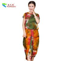 Quality OEM ODM Womens Linen Suits Clothing , Custom Printed Chinese Style Blouse wholesale