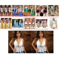 Quality European style deep V-neck halter top ladies short paragraph bottoming openwork crochet to wholesale