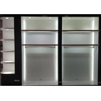 Quality Matte White Wooden Retail Clothing Fixtures Apparel Store Shelves With LED Lights wholesale