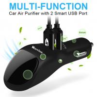 Quality 2 USB Port  Smart Car Charger With Ionic Air Cleaner Ionizer , Car Air Purifier wholesale