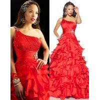 China One-Shoulder Red Organza Formal Dress (PD-1616) on sale