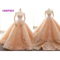 Quality Bright Nude Multi Colored Wedding Gowns With Petticoats And Lace Long Sleeves wholesale