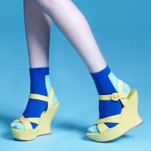 Quality Custom logo, design ladies Blue cotton Crew Socks wholesale