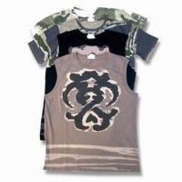 China Men's Knitted Cotton T-shirts Available with Water Printing, Rubber Printing and Transfer Printing on sale