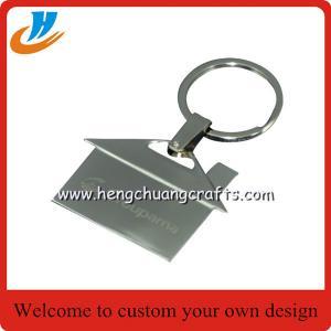 Quality House shaped metal keychain/key holder, house shape keychain with custom logo wholesale