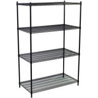 Quality Grocery Store Heavy Duty Commercial Wire Shelving 4 Layers Black Epoxy Surface Finish wholesale