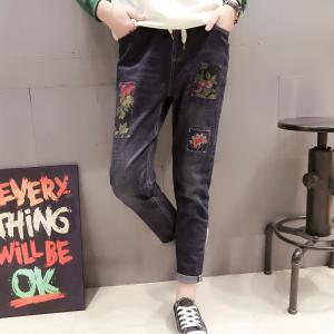 Custom Womens Slim Straight Leg Cropped Jeans Stone Washed Elastic Waist