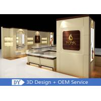 Quality Custom Wooden Glass Jewellery Display Cabinets Cream - Colored For Retail Shop wholesale
