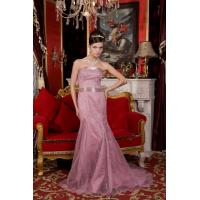 Quality Luxurious Pink Strapless Mermaid Organza Long Beaded Evening Prom Dress wholesale