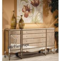 China 6 Drawers Mirrored Credenza Sideboard Large Size Solid Wood MDF Material on sale