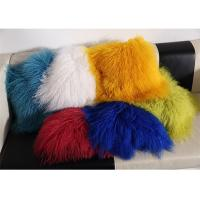 Quality Red / Blue 18 Inch Long Sheep Fur Pillow , Mongolian Fur Outdoor Throw Pillows  wholesale
