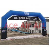 Quality custom 8m x 4m blue inflatable advertising archway with removable banner under top wholesale