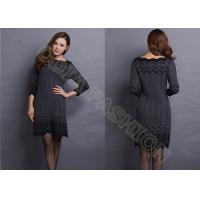 Quality Fashion Narrow Waist Ladies Sweater Dresses with Ruffled Collar Striped for Autumn wholesale