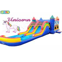 Quality Backyard Unicorn Inflatable Bouncer And Slide , Double Slide Bounce House wholesale