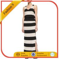 Quality Black and Almond Striped Maxi Dress wholesale