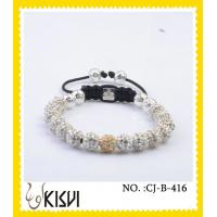Quality High quality guaranteewhite and gold 10mm crystal beaded bracelets wholesale