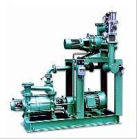 Roots pump vacuum system with liquid ring vacuum pumps