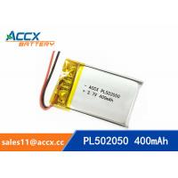 Quality 502050 pl502050 3.7v 400mah lithium polymer battery rechargeable flat polymer battery wholesale