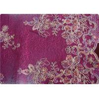 Quality Purple Home Textile Embroidered Fabrics High End Apparel Fabric wholesale