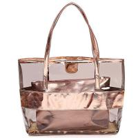 China Women Tote Handbag Semi clear-PVC Beach Bag Shoulder Bag Stripe Fasion bag Design From China Factory Supplier,good price on sale