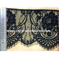 China 7 Scalloped Black Lace Fabric Shrink Resistant / Decorative Lace Trim For Sewing on sale