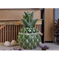 Quality Green Glazing Pineapple Ceramic Candle Jar with lid for wedding decor wholesale
