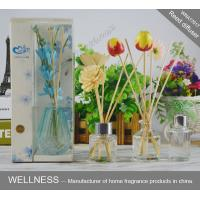 Quality Exquisite Colorful Wooden Reed Diffuser With Customized Clear Bottle , Silver Lid And Wood Flower wholesale