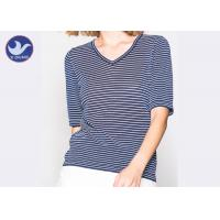 Quality Shinny Micro Lurex Womens Knit Pullover Sweater V Neck Small Stripes Slim wholesale