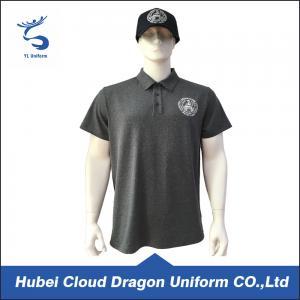 Quality 120 Gsm Bright Black Custom Security Polo Shirts , Short Sleeve Polo Shirt wholesale