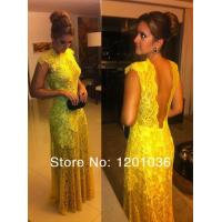 China High Collar A-line Long Evening Party Dresses Cap Sleeves With Gold Lace on sale