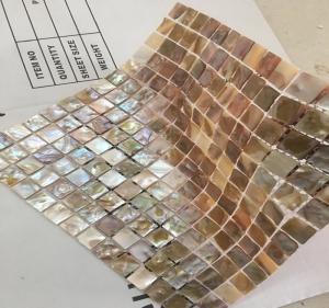 Quality Brown Square Seashell Mosaic Wall Tile , Mother Of Pearl Mosaic Tile Backsplash wholesale