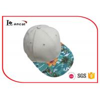 Quality Beige Cotton Twill Baseball Caps Hats , Tropical Style Flat Peak Fitted Ball Caps wholesale