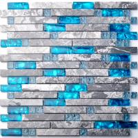 Quality Sea Blue Grey Marble Glass Kitchen Backsplash Mosaic Tiles For Bathroom Bathtub wholesale