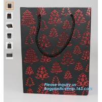 China personalized luxury logo printed paper carrier packaging bag with window,Logo Printed Black Advertising Shopping Promoti on sale