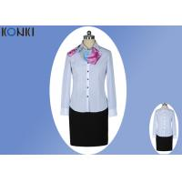 Modern Corporate Office Uniforms Ladies / Blue And White Stripe Shirt